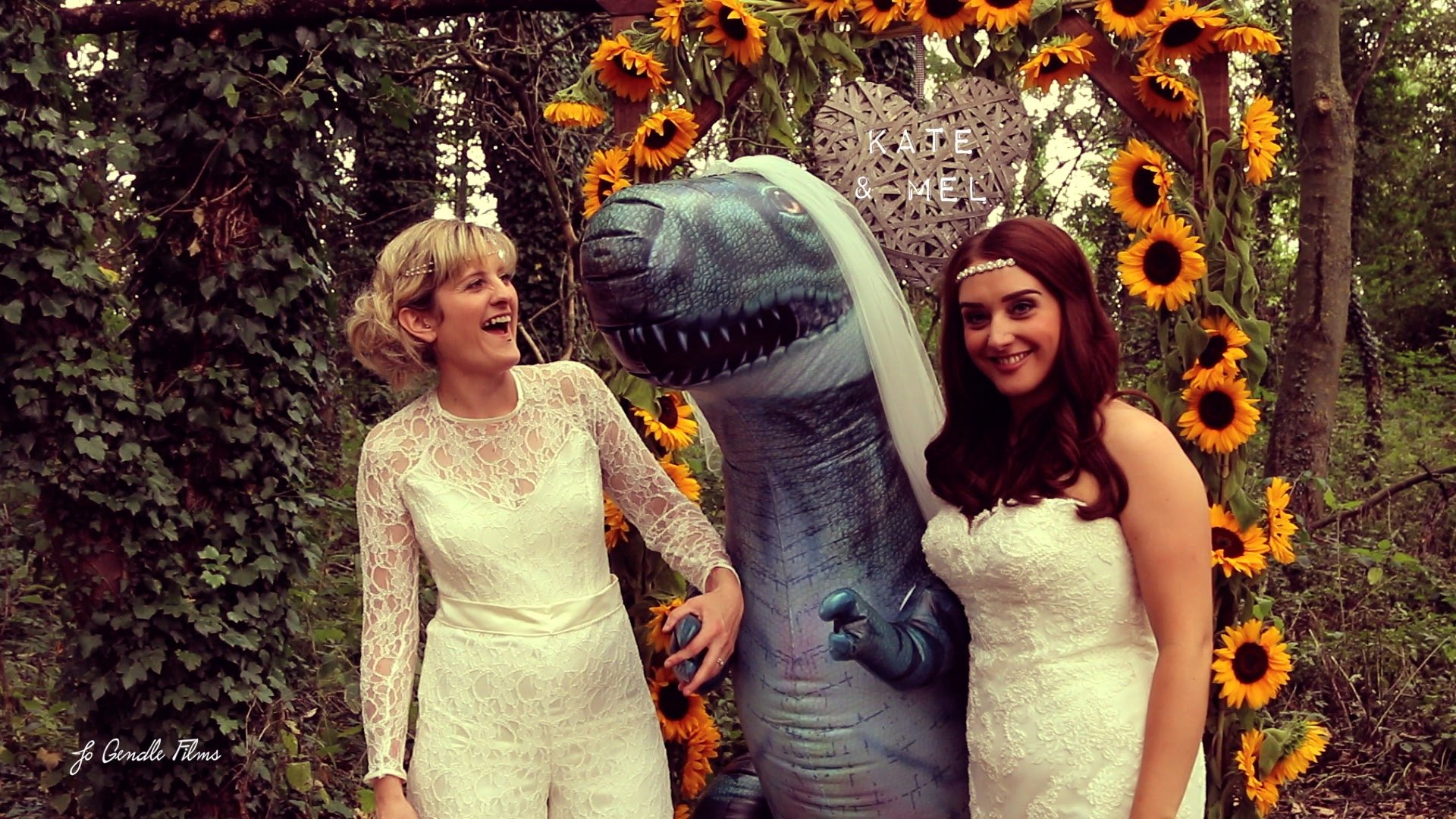 Quirky dinosaur wedding in the woods