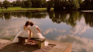 2 brides by lake