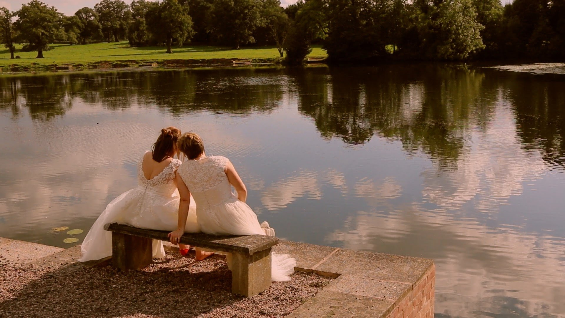 2 brides by lake